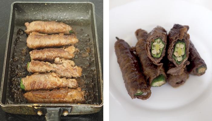 肉の薄切りを巻いたオクラにタレを加えて焼いている様子と、出来上がりの様子