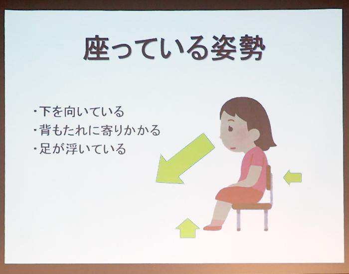 肩に負担がかかる姿勢の図(座っている場合)